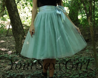 Ligth Gray Tulle Tutu Skirt with Green Lining