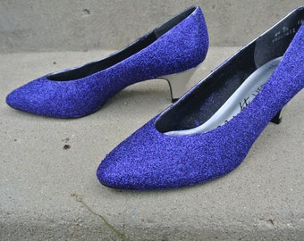Tanzanite Purple Glitter Sparkle Shoes size US 6 1/2