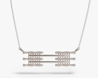science jewelry: silver sarcomere necklace - 3D printed sarcomere pendant - wearable science - human body - cell - biology -cytoskeleton