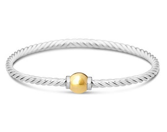 Cape Cod Bracelet- Twist in Sterling Silver w/ 14K solid gold ball