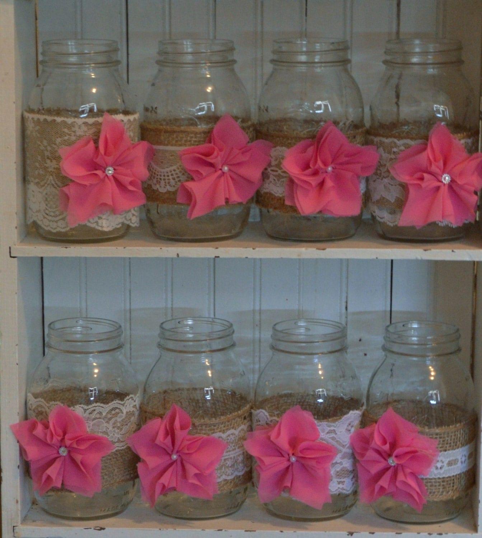 Baby Shower Decor With Mason Jars ~ Mason jar sleeves baby girl shower decorations