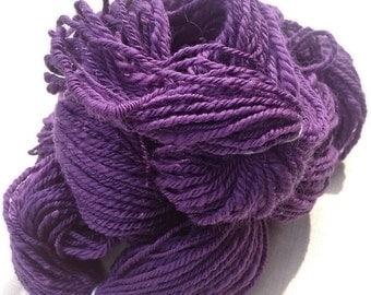 Handspun yarn - hand spun purple yarn - Purple  - chunky knitting yarn - merino wool - weaving yarn