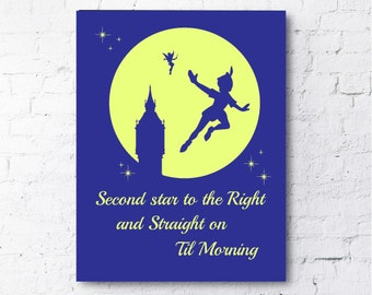 Peter Pan Print.  Second Star to the Right and Straight on Til Morning.  Tinkerbell.  Disney Poster..  Quote. All Prints BUY 2 GET 1 FREE!