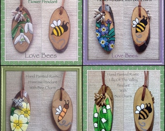 Rustic Spring Flower Pendant With Metal Bee Charm *Choice Of Designs