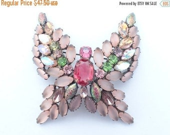 On Sale Butterfly Brooch Large dimensional frosted ab and iridescent rhinestones AB154