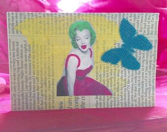 Handmade mixed media Marilyn Monroe 1950s pinup, collage, note card, greetings card, birthday card, love card