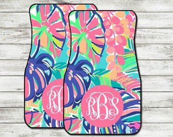 Monogrammed Lilly Pulitzer Car Mats for Front or Rear Car Mats for Any Car | Personalized Universal Mats - Exotic Garden