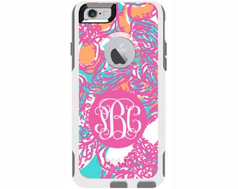 Monogrammed Lilly Pulitzer Inspired Otterbox Commuter Case - iPhone 6/6s Plus, iPhone 6/6s, iPhone 5/5s, Galaxy S6, Galaxy S5, Galaxy Note 4