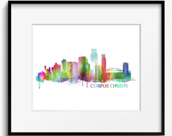 Corpus Christi Skyline Watercolor Art Print (015)