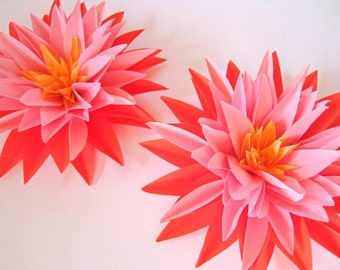 Set of 3 Pink Paper Flowers, Stem Dahlias, Pink Paper Dahlias, Wedding Decoration, Pink First Birthday, Centerpiece, Candy Buffets Bar