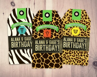 Party favor tag, Zoo, Safari tag, baby shower, birthday favor, baby shower decor, animal print, animal tag, birthday party, thank you, twins