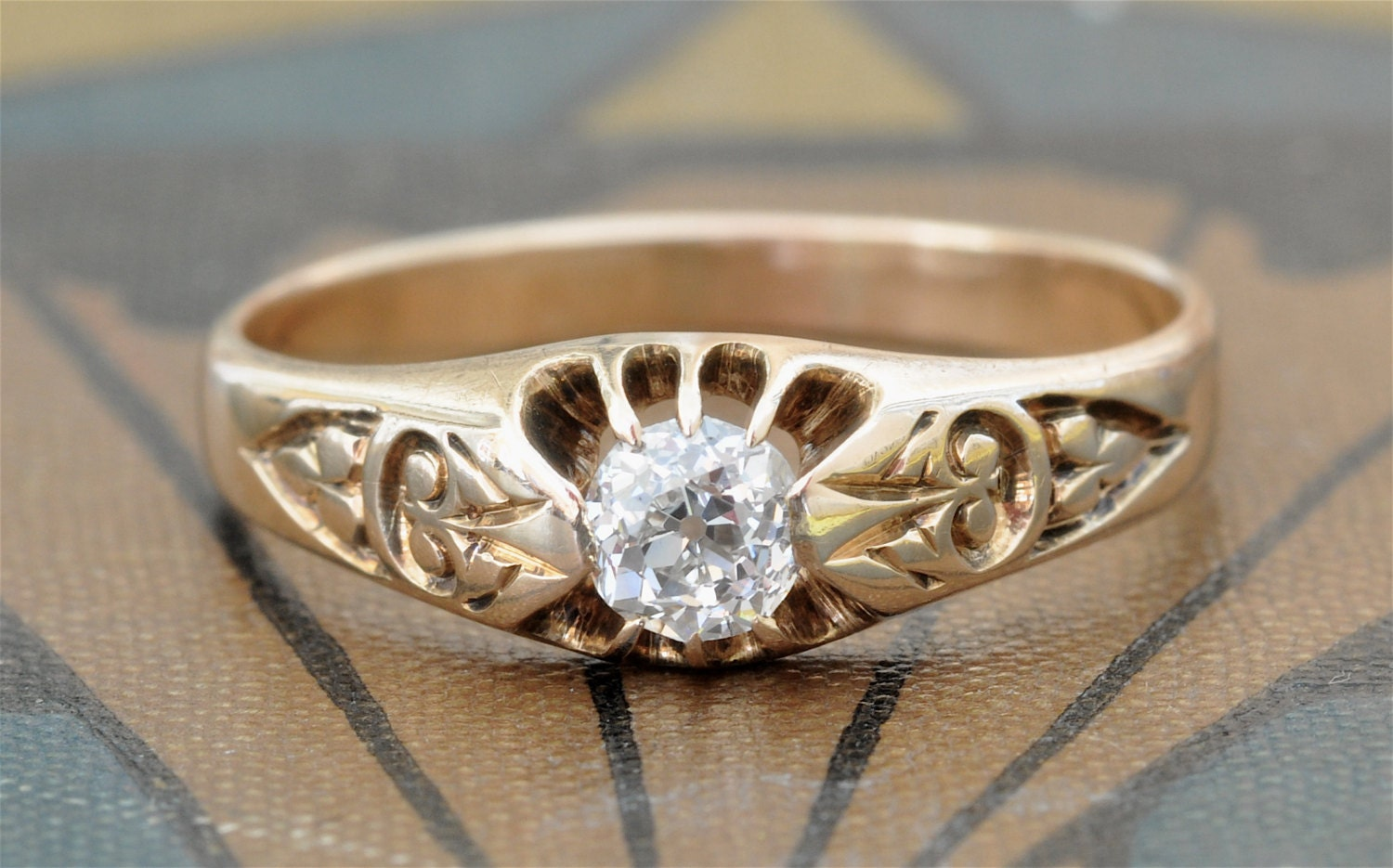 Victorian Engagement Ring-Old Mine Cut Diamond Engagement
