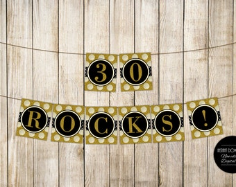 DIGITAL 30 ROCKS Birthday Banner, Thirty Rocks Birthday Bunting, Adult 30th Birthday Party Decor, Gold Glitter Garland, Diy Instant Download