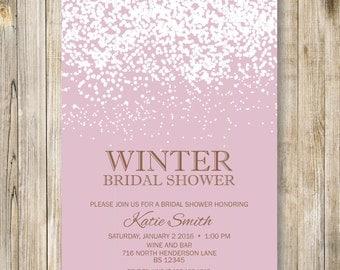 PINK WINTER BRIDAL Shower Invitation, Pink Snowing Bridal Shower invite, Christmas Bridal Shower, Pink Wedding Shower, Diy Digital Printable
