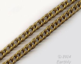 Vintage solid brass flat curb chain. 6mm width. Sold per foot. b12-chn692(e)