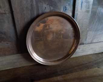 Charming French vintage round copper tray with patina.  Tea time tray.