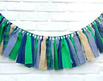Navy blue and green fabric garland. Notre dame decor, fighting Irish, whale party, boy party, boy nursery, newborn photoprop, rustic decor