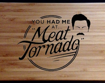 "Ron Swanson ""Meat Tornado"" Wood Burn - Bamboo Cutting (Cheese) Board"