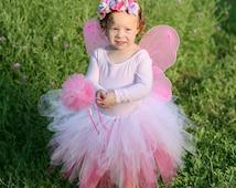 Pink Fairy Costume - Flower Fairy Costume - Toddler Halloween Outfit - Toddler Fairy Costume - Cute Toddler Girl Costume -Kids Fairy Costume