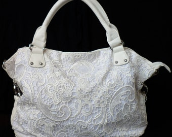 Women Lace Handbag Sholderbag White