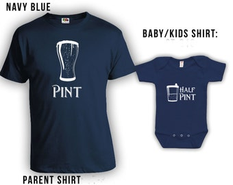 Pint and Half Pint Matching Fathers Day Set - Dad Shirt, Baby Shirt, Gifts for Him Gifts for Dad from Daughter or Son, Bodysuit CT-118 - 439