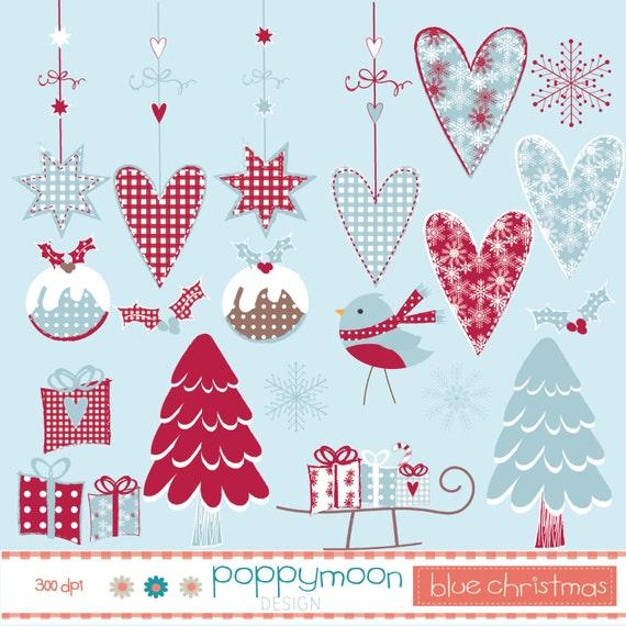 Blue christmas hanging hearts and snowflakes printable