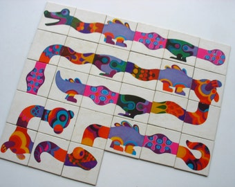 27 vintage memory game cards from a 1965 Serpentino game, retro fantasy snake game cards