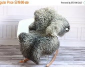 BIG SALE Exclusive collection Genuine Gray Gotland Breed SHEEPSKIN Rug, Pelt, Chair Cover, Throw Scandinavian Style Curly fur Xxl Extra Larg