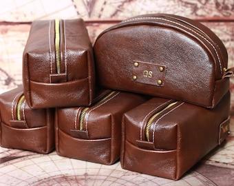 HANDMADE Personalized Men's Leather Toiletry Case Dopp Kit Shaving Bag OOAK - Christmas Gift for Man