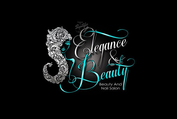 beauty and nail salon logo custom business logo silver and