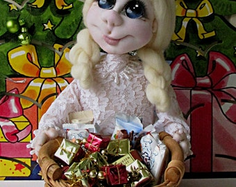 "Soft sculpture textile doll handmade doll Praline basket-""Angel"""