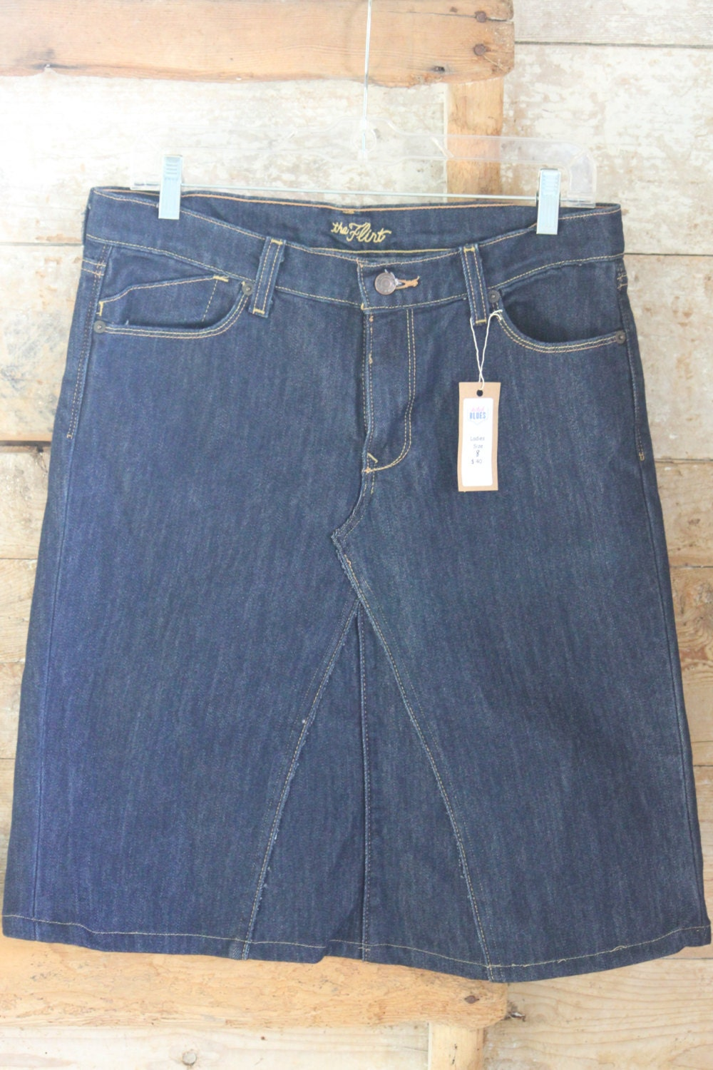 mid length denim skirt size 8