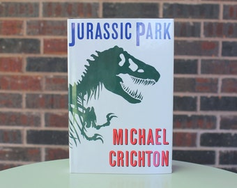 Jurassic Park - Michael Crichton - Vintage Book - 1990 - Alfred A. Knopf - Book Club Edition - Jurassic World - Dinosaurs - TREX