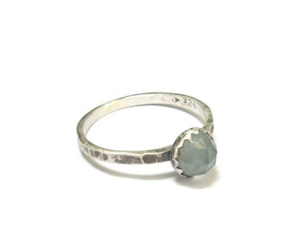 Ethnic ring blue chalcedony - money Massif and stone