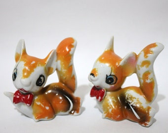 A Pair of Little Vintage Squirrel Figurines. Woodland Forest Creatures.