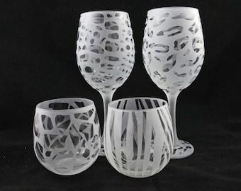 Animal Print Wine Glasses - Etched Wine Glasses - Etched Glass Gifts - Zebra Wine Glass - Giraffe Wine Glass - Cheetah Wine Glass- Alligator