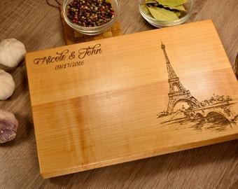 Cutting Board personalized gift, Paris, France engraved, Eiffel Tower, Custom Kitchen Cutting Board, Wood Cutting, Wedding Board Anniversary