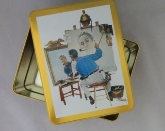Norman Rockwell Stationary Tin, Triple Self Portrait