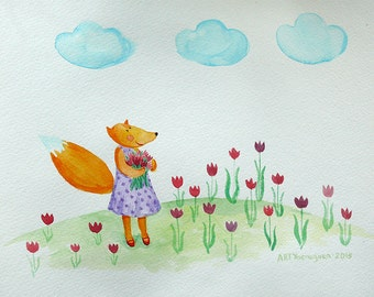 """Fox Picture for children's rooms 8х11"""" baby gift for Christmas Tulips bloom Free shipping"""
