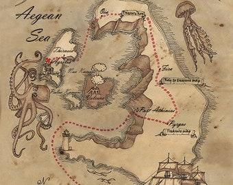 Treasure map of Santorini, Instant download,Vintage image digital