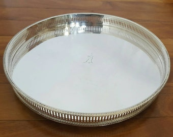 Vintage Silver Plate Footed Round Reticulated Gallery Serving Tray, England