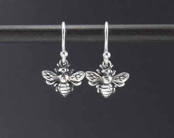 Tiny Bee Earrings Sterling Silver Small Honey Bee Earrings, Small Silver Dangle, Bee Charm Earrings, Nature Jewelry
