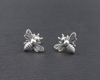 Honey Bee Earrings Sterling Silver Tiny Honeybee Bumble Bee Stud Earrings