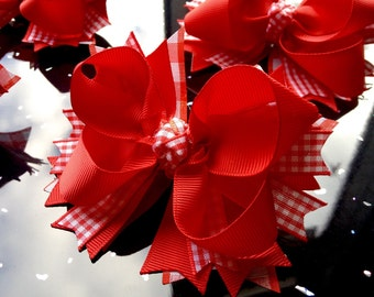 SALE SALE, School Hair Bow Clip's      Red & White Gingham Checkered. 4.5 inch