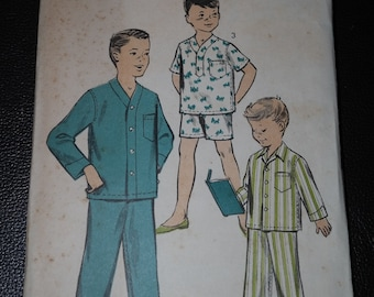 Vintage Advance 8487 Sewing Pattern Boys Pajamas in 3 Views Size 4