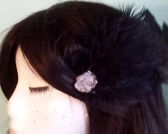 Handmade Black Feather Hairclip