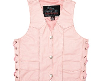 Girls' PINK LEATHER VEST, Motorcycle Vest, Biker Vest, Harley Davidson Lifestyle, Sons of Anarchy Lifestyle, Girls' Clothing, Valentine Gift