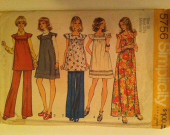 1973 Simplicity 5756 Pattern Maternity Dress in two lengths or tunic and panats 1973