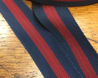 Vintage Navy and Red Striped Gros Grain Ribbon - 7/8 inches wide - Beautiful and Classic Ribbon