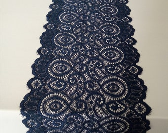 "Navy lace runner table runner 7"" wedding table runner , lace table runner, wedding runners something blue, wedding shower runners  R120312"